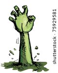 cartoon of a green zombie hand...   Shutterstock .eps vector #75929581