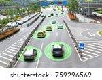 smart car  hud  and autonomous... | Shutterstock . vector #759296569