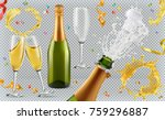 champagne. glasses  bottle ... | Shutterstock .eps vector #759296887