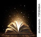 open book on wooden vintage... | Shutterstock . vector #759304864