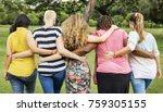 friends having fun in park | Shutterstock . vector #759305155