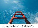 red staircase rests against... | Shutterstock . vector #759306595