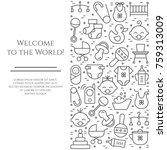 baby theme horizontal banner.... | Shutterstock .eps vector #759313009