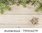 wooden background with frame on ... | Shutterstock . vector #759316279
