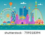 amusement park with attraction... | Shutterstock .eps vector #759318394