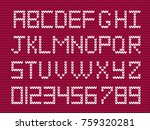 white knitted alphabet and... | Shutterstock .eps vector #759320281