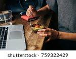 soft focus shot of woman at... | Shutterstock . vector #759322429