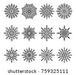 snowflakes set with frozen... | Shutterstock .eps vector #759325111