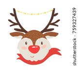 rudolf deer in red scarf icon... | Shutterstock .eps vector #759327439