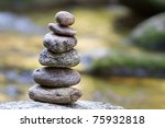 Small Stones Pyramid In Nature