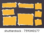 yellow ripped strips  notebook  ... | Shutterstock .eps vector #759340177