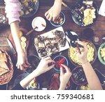 festive meal. christmas or... | Shutterstock . vector #759340681