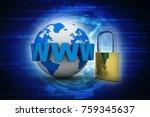 3d rendering padlock with www | Shutterstock . vector #759345637