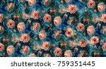 watercolor orange blooming... | Shutterstock . vector #759351445