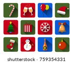 set of christmas vector icons.... | Shutterstock .eps vector #759354331