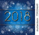 2018 happy new year text design ... | Shutterstock .eps vector #759354649
