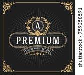 vintage luxury monogram banner... | Shutterstock .eps vector #759358591