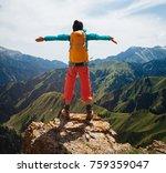 successful woman backpacker... | Shutterstock . vector #759359047