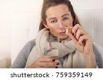 portrait of a sick woman in bed ... | Shutterstock . vector #759359149