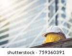 white  yellow hard safety... | Shutterstock . vector #759360391