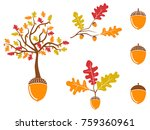 color oak acorn icons set | Shutterstock .eps vector #759360961
