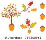 color oak acorn icons set | Shutterstock .eps vector #759360961