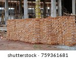 stack of brick at site work for ... | Shutterstock . vector #759361681