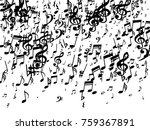 black musical notes flying... | Shutterstock .eps vector #759367891
