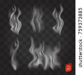 vector set of smoke on a... | Shutterstock .eps vector #759373885