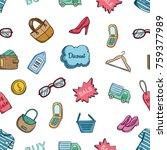 seamless pattern of shopping... | Shutterstock .eps vector #759377989