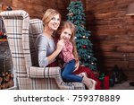 beautiful happy mother with her ... | Shutterstock . vector #759378889