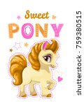 little pretty pony girl. vector ... | Shutterstock .eps vector #759380515