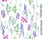 watercolor seamless pattern ... | Shutterstock . vector #759387481