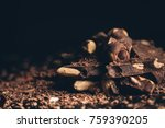 close up of pile of dark... | Shutterstock . vector #759390205