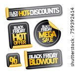 black friday sale stickers set  ... | Shutterstock .eps vector #759392614