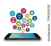 vector smartphone device with... | Shutterstock .eps vector #759393235