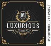 vintage luxury monogram banner... | Shutterstock .eps vector #759393577