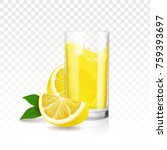lemonade glass with pieces of... | Shutterstock .eps vector #759393697
