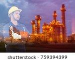 double exposure of technician... | Shutterstock . vector #759394399