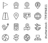 thin line icon set   flag ... | Shutterstock .eps vector #759396811