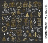 hand drawn christmas and new... | Shutterstock .eps vector #759402841