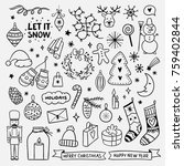 cute hand drawn christmas... | Shutterstock .eps vector #759402844
