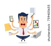 businessman stressed while...   Shutterstock .eps vector #759405655