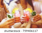 young men and women drinking... | Shutterstock . vector #759406117