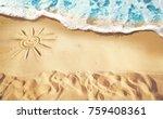 soft waves with foam blue ocean ... | Shutterstock . vector #759408361
