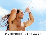 a handsome sporty sexy guy with ... | Shutterstock . vector #759411889