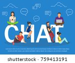 chat illustration of young... | Shutterstock . vector #759413191