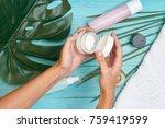 cosmetics  cream in hands  spa ... | Shutterstock . vector #759419599