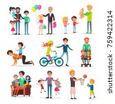 loving fathers make presents... | Shutterstock . vector #759422314