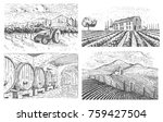 vineyards landscape  tuscany... | Shutterstock .eps vector #759427504